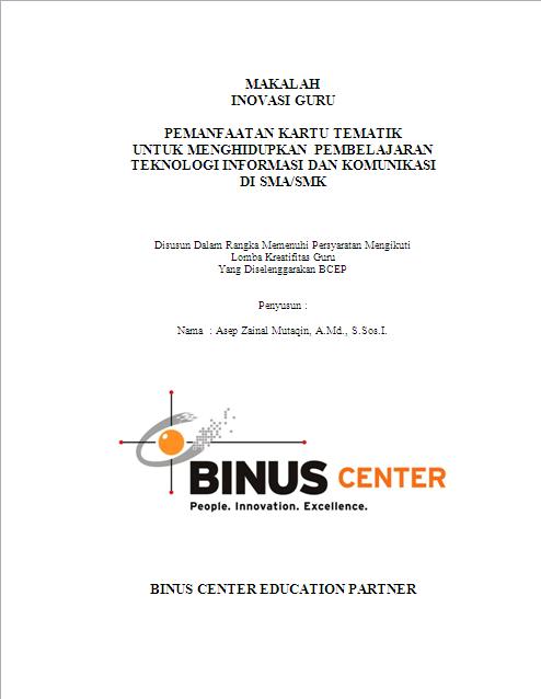 Contoh Laporan Hasil Karya Inovatif Makalah A Zainal Mutaqin
